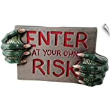 "CANVAS ON DEMAND Wall Peel Wall Art Print Entitled Warning Sign with Monster Hands 60""x37"""