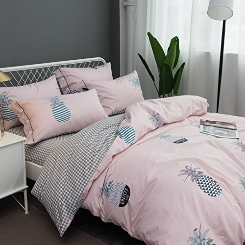 KFZ Cotton Bed SET Bedding Set Cotton Duvet Cover Fitted Sheet Pillow Covers Twin Queen King Sheets Set CJF No Comforter Dinosaur Pineapple Bohemian Design (Love Pineapple, Pink, Queen 78''x91'')