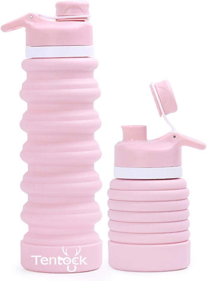 Tentock Botellas de Agua Plegables de la Prueba del Escape 750ml, BPA Liberan la Botella Plegable de los Deportes del Silicón para Viaje Excursionismo