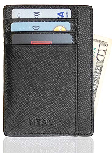Slim Front Pocket Wallet, RFID Protection + Money Clip and Gift Box, Top Grain Leather - Fold Gift