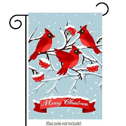 GDF Studio Birds Red Cardinal in Snow Garden Flag, Double-Sided, 100% All-Weather Polyester, Winter/Christmas Yard Flag to Bright Up Your Garden 12.5 x 18