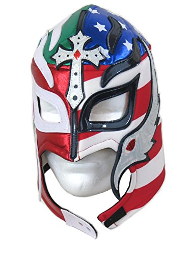 Rey Mysterio Adult Lucha Libre Wrestling Mask (pro-fit) Divided Heart Mex-USA