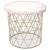 Cheap Vanity Stool, Modern Antique Contemporary Satin Nickel Furry Round Vanity Stool with White Seat & E-Book