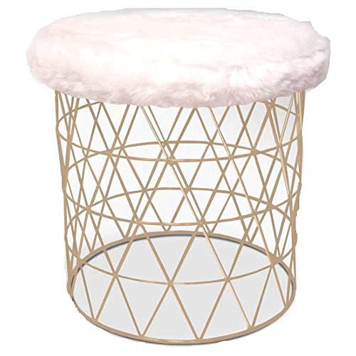 Cheap Vanity Stool, Modern Antique Contemporary Satin Nickel Furry Round Vanity Stool with White Seat & E-Book by Cheap