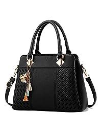 Haolong Womens Handbags Ladies Purses Satchel Shoulder Bags Tote Bag (Black)