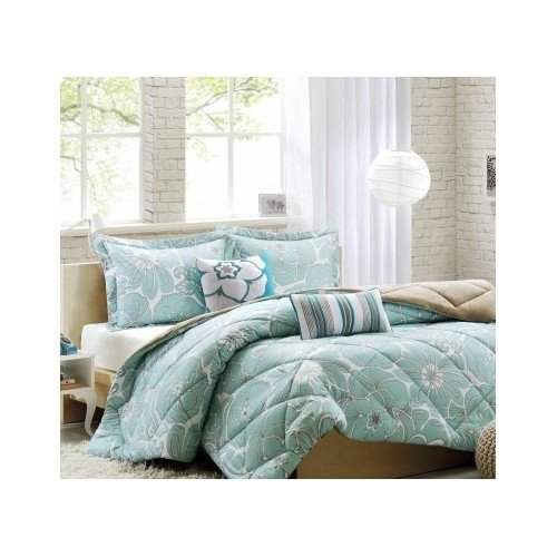 Reversible Modern Floral Aqua Blue and White Comforter Bedding Set with Pillows