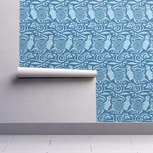 108 In Jeans - Peel-and-Stick Removable Wallpaper - Goddess Abstract Woman Face Fairy Whimsical Abstract Indigo Hair Denim by Spellstone - 24in x 108in Woven Textured Peel-and-Stick Removable Wallpaper Roll