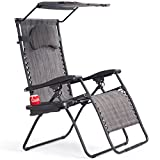 Goplus Folding Zero Gravity Lounge Chair Wide Recliner for Outdoor Beach Patio Pool w/Shade Canopy (Grey Zero Gravity Chair)