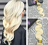 Bleaching Hair Experience - Moresoo 20 Inch Sew in Weave Hair Extensions Double Wefted Hair Blonde #613 Body Wave Sew in Hair Bundles Remy Hair Extensions Human Hair 100g/bundle