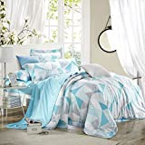 SAYM Home Bedding Sets Modern Fashion Digital Print Tencel Elegant Flower 3D Print Set Low Carbon Environmental Protection Printing and Dyeing Set For Lovely Teen Girls Duvet Cover, Flat Sheet, Shams Set 4Pieces,Queen Size