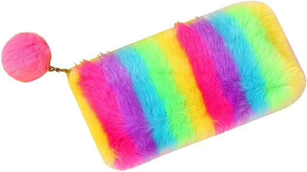 CHIRORO - Estuche para lápices, Colorido, con diseño de arcoíris, para cosméticos, Monedas, Organizador de papelería, con pompón, Color Rojo: Amazon.es: Electrónica