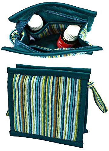 Small Essential Oil Case | Holds 6: 5mL - 10mL - 15mL Oils | Tall Enough for Roller Bottles | Aromatherapy Travel Bag for doTERRA - Young Living Oils | Cute & Compact Essential Oils Organizer (Teal) by Essential Oils and Co.