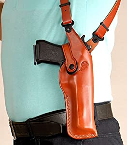 Premium Leather Vertical Shoulder Holster fits, Desert Eagle All CALIBERS with 6''BBL, Right Hand Draw, Brown Color #1089#