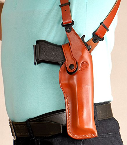 - Premium Leather Vertical Shoulder Holster fits All CALIBERS with 6'' Barrel, Right Hand Draw, Brown Color