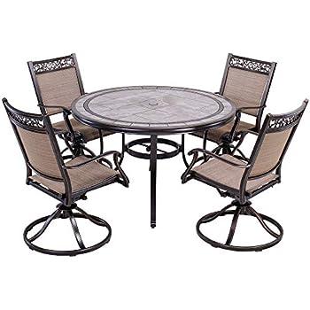 Amazon Com Dali Outdoor 5 Piece Dining Set Patio Furniture Aluminum Swivel Rocker