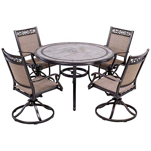 dali Outdoor 5 Piece Dining Set Patio Furniture, Aluminum Swivel Rocker Chair Sling Chair Set with 46 inch Round Mosaic Tile Top Aluminum - Set 46 Piece Dinner