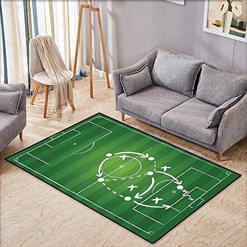 (Large Door mat,Soccer,Game Strategy Passing Marking Dribbling Towards Goal Winning Tactics Total Football,Anti-Static, Water-Repellent Rugs,4'11