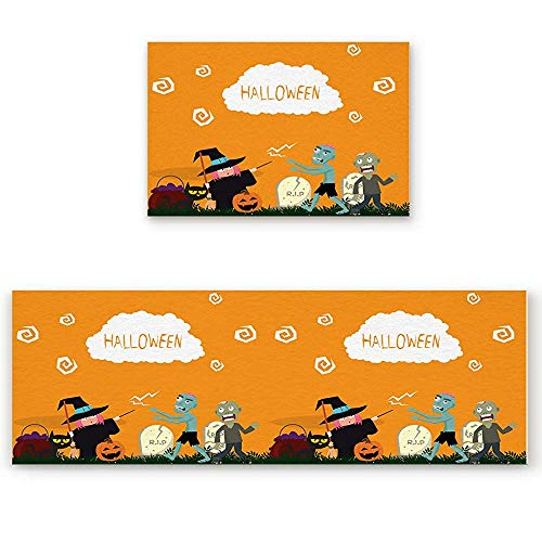 YGUII 2 Piece Kitchen Mat Western Holidays Halloween