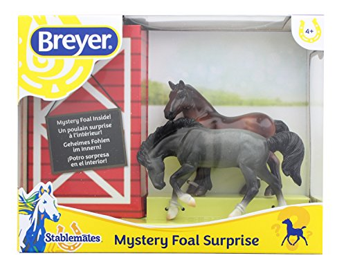 Breyer Fun Foals (Breyer 1:32 Stablemates Foal Surprise Model Horse Set: Roan Rivet & Bay Drafter)