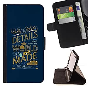BullDog Case - FOR/LG Nexus 5 D820 D821 / - / WORLD INSPIRING QUOTE BLUE GOLDEN /- Monedero de cuero de la PU Llevar cubierta de la caja con el ID Credit Card Slots Flip funda de cuer