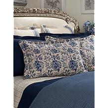 Lauren by Ralph Lauren Bluff Point Ivory & Navy Stencil Floral King Pillow Sham