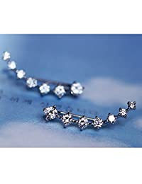 Seven Square Diamond Alloy 18k Diamond Stud Earring Cuff Earring