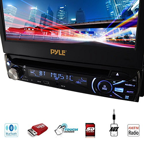Premium 7In Single-DIN Car Stereo Receiver With Bluetooth - In-Dash Motorized Touchscreen TFT/LCD Display with AM- FM Radio and Multimedia CD / DVD / MP3 / SD / USB & More by Pyle (Image #2)