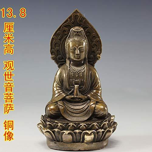 ZAMTAC Brass Copper Buddhism Carved Kwan-yin Bodhisattva Guanyin Buddha Statue Garden Decoration 100% Real Brass Brass