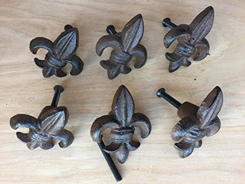 BI01DT064_12 - Antique Replica Brown/Black Fluer De Lis Drawer Pull (12pcs) ()