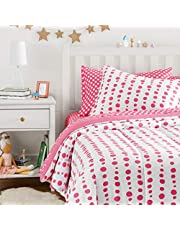 AmazonBasics Easy-Wash Microfiber Kid's Bed-in-a-Bag Bedding Set - Twin, Pink Dotted Line