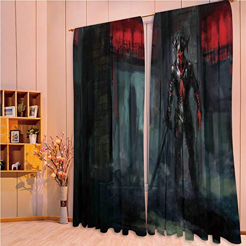 ZHICASSIESOPHIER Bedroom/Living Room/Kids/Youth Room Curtain Panels, 2 Panel,Character in Fire Temple Dark Gothic Demonic Devil 108Wx90L Inch -