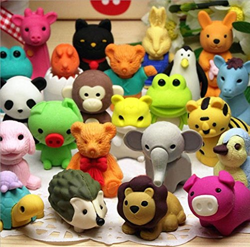 Mity Rain Japanese Animal Erasers for Kids,36 Pack Mini Puzzle Eraser Take Apart Toys,Animal Pencil Erasers Set,Novelty Party Favors Educational Gift by Mity Rain