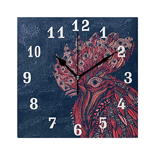 SEULIFE Wall Clock Ethnic Tribal Animal Rooster Feather, Silent Non Ticking Clock for Kitchen Living Room Bedroom Home Artwork Gift