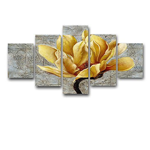 [Medium] Premium Quality Canvas Printed Wall Art Poster 5 Pieces / 5 Pannel Wall Decor Yellow Flower Painting, Home Decor Pictures - With Wooden (Flowers Picture Frame)
