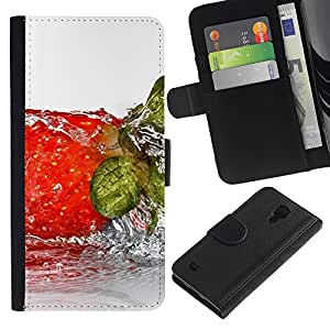 KingStore / Leather Etui en cuir / Samsung Galaxy S4 IV I9500 / Fruta Wet strwberry