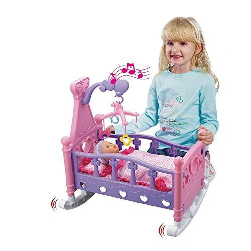 New Childrens Kids Musical Rocking Cot Bed Crib With Baby Doll Pretend Play Set Toy Cradle Girls Xmas Gift by Eurotrade W Ltd