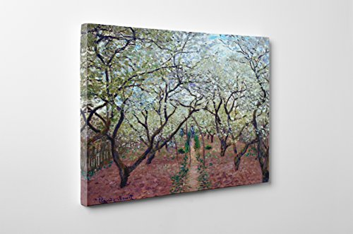 Niwo Art (TM - Orchard in Bloom, by Claude Monet, Oil Painting Reproduction - Giclee Wall Art for Home Decor, Gallery Wrapped, Stretched, Framed Ready to Hang (20