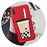 Cartoon 3D Milk Tea Funny Case for Samsung Galaxy A10 A20 A30 A40S A50 A60 A70 A80 M10 M20 M30 Silicon Drink Cup TPU Phone Cover,A2 Core,PearlCup Red -  disiren