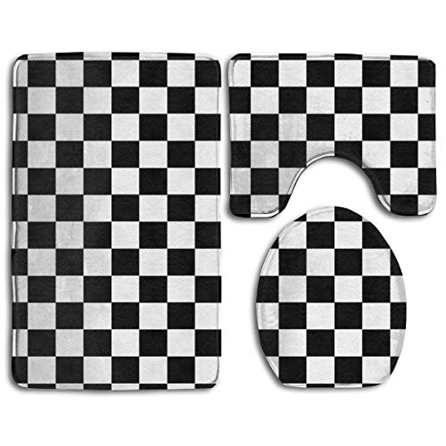 TERPASTRY Black White Checkerboard Bathroom 3 Piece Rug Set Includes Mat Contoured for Toilet Lid Toilet Cover and Carpet Rug Perfect Mats for Tub Shower Bath Room