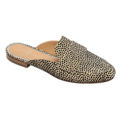 Linea Paolo Annie Women's Loafer - Open Back Slip-On Loafer Natural-black Dot Print Suede