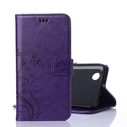 Funda LG K4 2017, Cáscara LG K4 2017, Alfort 2 en 1 Casco de Protección Relieve Carcasa PU Cuero Sintético + 1 raíz horca Cierre Magnético Carcasa del teléfono con una función de soporte y la cartera  Deep Purple