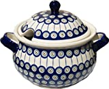 Polish Pottery Soup Tureen From Zaklady Ceramiczne Boleslawiec 1004-8 Classic Pattern, 13.4 Cups