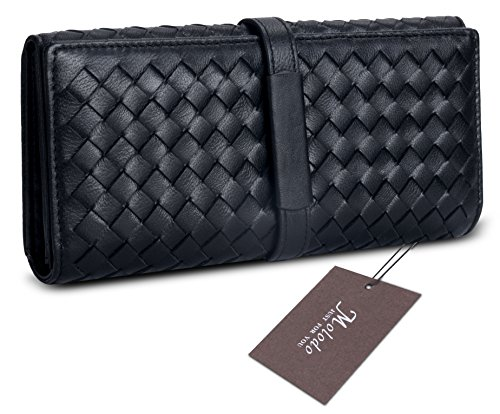 Molodo Women's Large Capacity Genuine Leather Wallet With Zipper Pocket Black