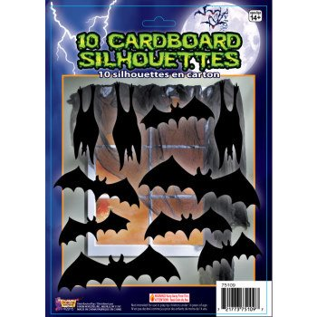 Halloween Cardboard Silhouettes Bats Party Decoration Favors 10 Pc