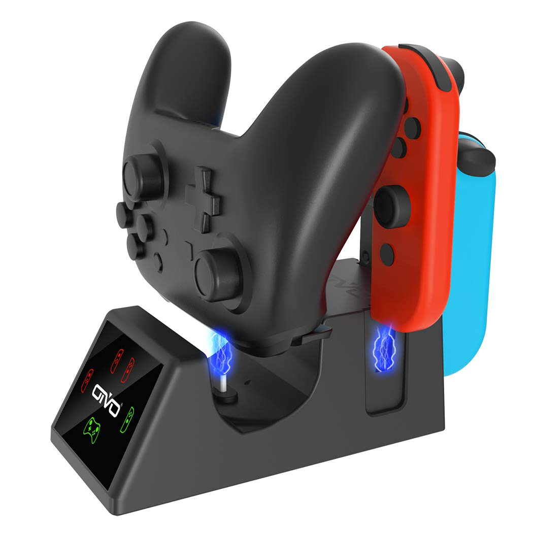 OIVO 5 in 1 Controller Charger Compatible with Nintendo Switch, Charging Dock Station Compatible with Switch Joy Cons and Pro Controller, with LED Charging Indicators and USB Charging Cable by OIVO