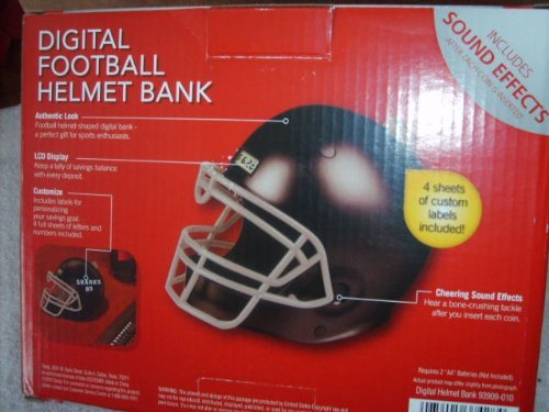 Digital Football Helmet Bank - Black by Totes