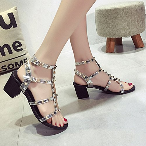 Sandals Amazing Summer New T-style Buckle With Rome Coarse Heel Rivet Decorative Thin High-heeled Female (Color : B, Size : EU39/UK6/CN39) B