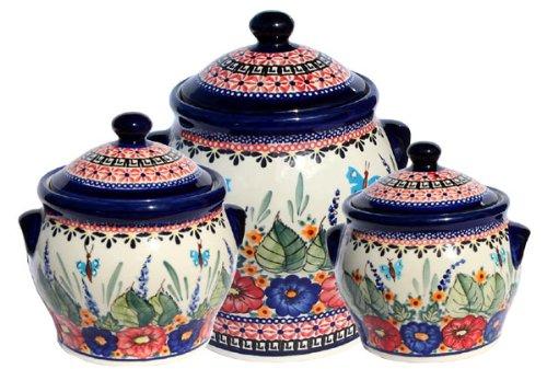 (Polish Pottery Canister Set Zaklady Ceramiczne Boleslawiec 1096-149 Art Set)