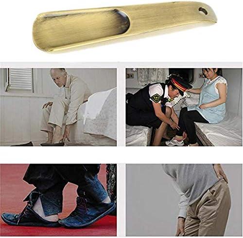 軽量 男性と女性のための銅ショート取扱シューホーンブーツホーン 耐用 (Color : Metal, Size : 18cm)