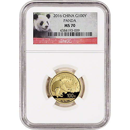 - 2016 CN China Gold Panda (8 g) Red Panda Label 100 Yuan MS70 NGC